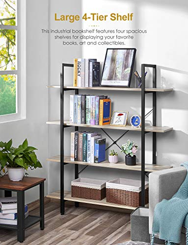 Bookshelf Vintage Industrial 4 Tier Bookcase Wooden Solid 130lbs Load Capacity per Shelf Sturdy Bookshelves with Steel Frame, Open Wide Book Shelf for Home Office, Living Room Furniture, Oak Grain