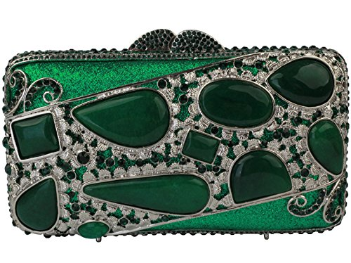 Yilongsheng Ladies New agate Evening Bags With Crystal For Wedding (Green) by YILONGSHENG