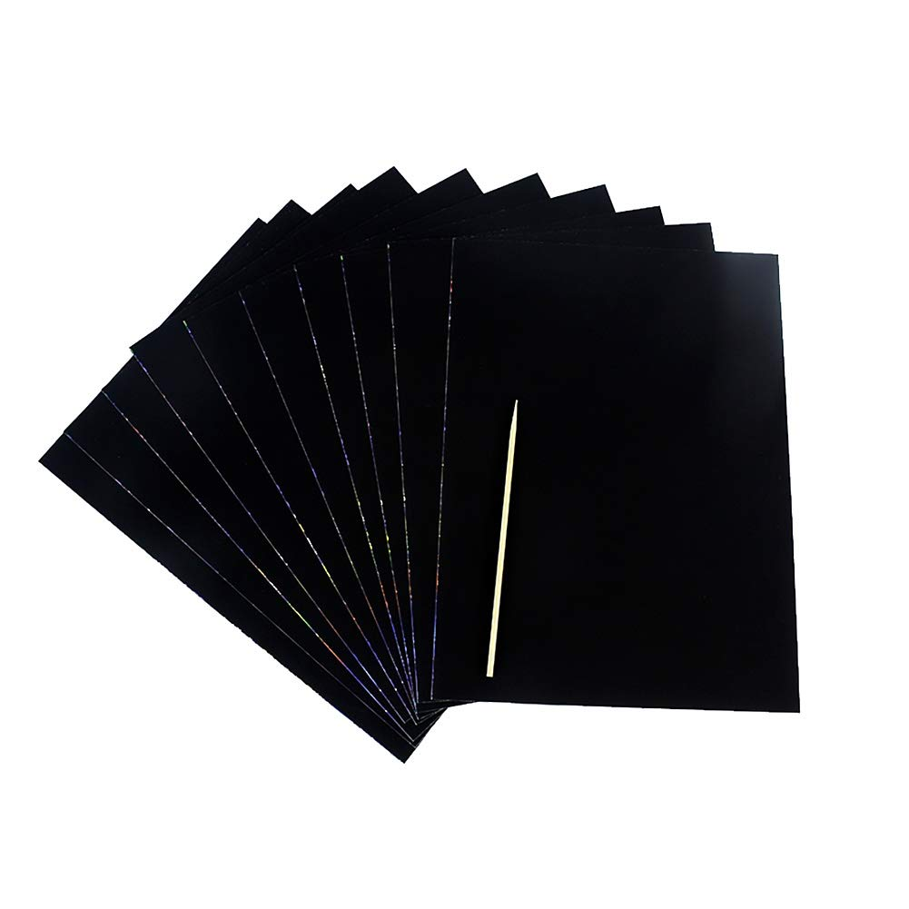 Unicoco Magic Scratch Art Paper 10sheets Black Blank Scratch Painting Notepad Kid DIY Art Doodle Scratch Paper