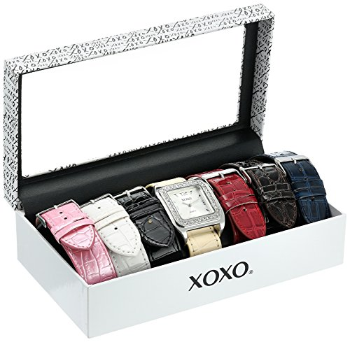 XOXO Women's XO9023 Rhinsetone-Accented Watch with Interchangeable Croc-Embossed Straps Croc Embossed Strap Watch
