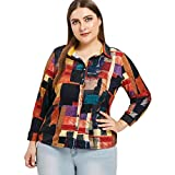 TWGONE Button Down Shirts For Women Plus Size Printed Long Sleeve Blouses Tops Causal T Shirt(X-Large,Multicoloured)