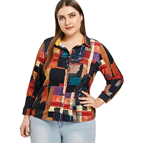 HIKO23 Women's Plus Size Geometric Printed Blouse Casual Loose Long Sleeve V Neck Button Down Collar Tee Top T-Shirt