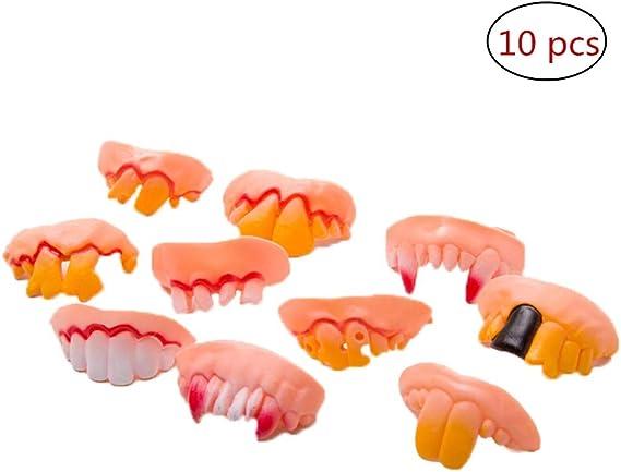 10pcs/set Caucho Falso Dientes Vampiro Dentadura Ugly Gag Dientes ...