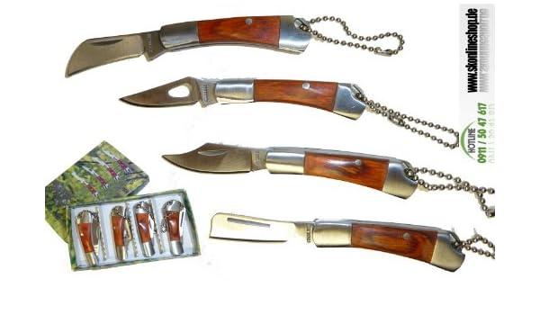 Kar@Kas - Juego de 4 navajas pequeñas de cazador con llavero ...