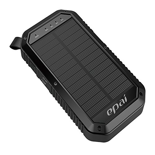 Price comparison product image Solar Charger, Epai 8000mAh Portable Solar Power Bank Waterproof 3-Port USB Solar Panel Charger With 21LED Light Carabiner For Emergency Outdoor Camping for cell phone,iPhone,iPad, Android Black