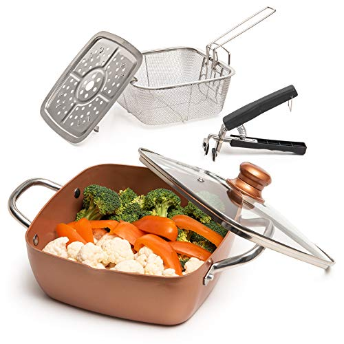 Moss & Stone Copper 5 Piece Set Chef Cookware, Non Stick Pan, Deep Square Pan, Fry Basket, Steamer Rack, Dishwasher…