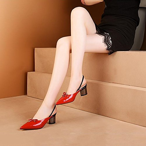 DALL Escarpins Ly-747 Lisse Vamp Chaussures Pour Femmes Tête Pointue Talons Hauts Sandales Printemps Et Été 6 Cm De Haut (Couleur : Rouge, taille : EU 39/UK6/CN 39) Rouge