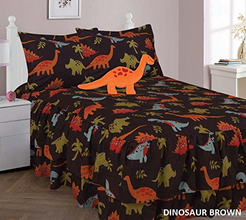 Twin 4 Piece Brown Dinosaur Printed Double Ruffle Comforter Quilt Set With Furry Buddy Pillow by The Liquidator Goods