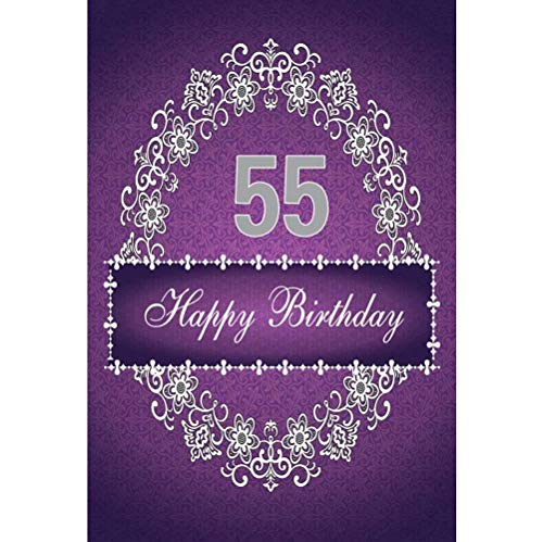 Leowefowa 8x10ft Vinyl Photography Backdrop Floral 55th Birthday White Flower Garland Purple Damask Backdrop Background Event Party Decoration Portrait Photo Shoot Studio Photo Booth Props -