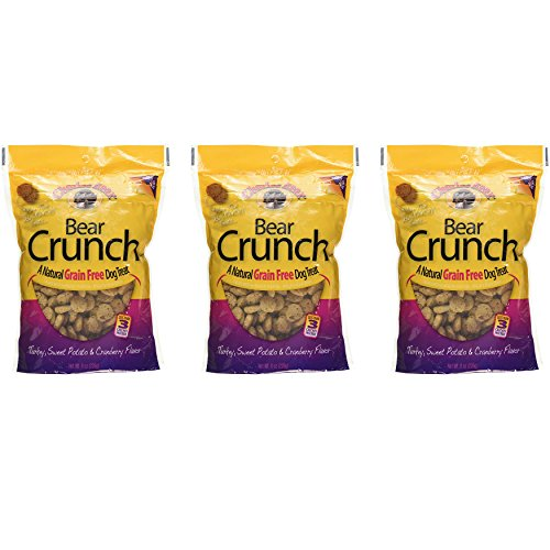 Charlee Bear Crunch Turkey, Sweet Potato & Cranberry Flavor Dog Treat and Snack (3 Pack) 8 oz Each