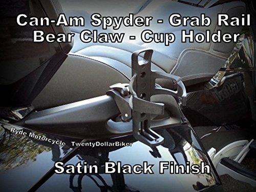 Can Am Spyder Passenger Grab Rail Drink Water Bottle Cup Holder - Satin Black - Easy On - Off Design