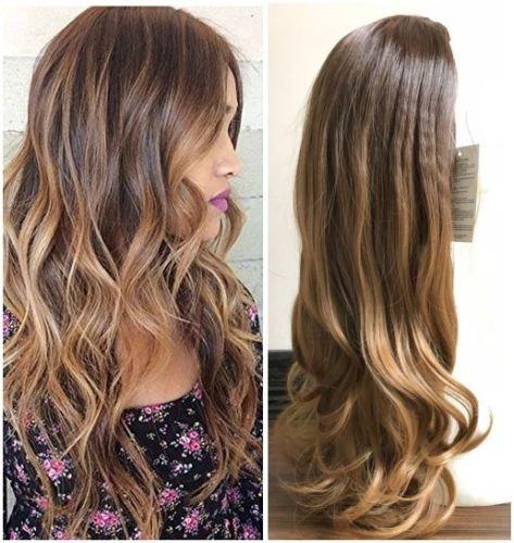 24 Inches Long Wavy Curly Clip in Ombre 3/4 Half Head Wig DL (Wavy-Medium brown to dark blonde) -