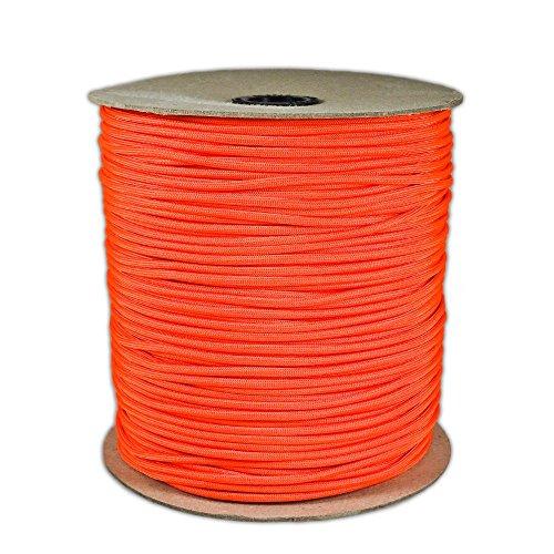 1000' Foot Spool Neon Orange Parachute Cord 7-Strand Core 550 Cord 7 Strand Parachute Cord