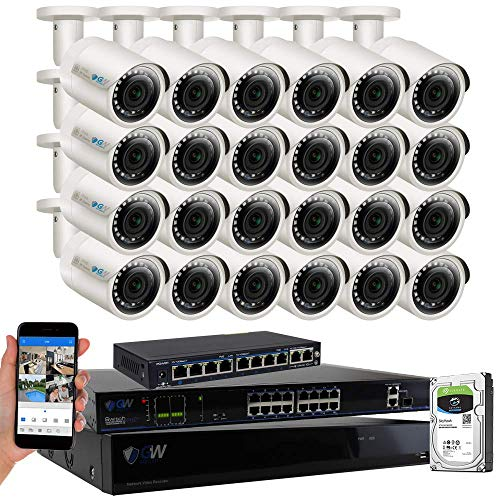 - GW Security 32 Channel 4K POE NVR System (24) 5MP IP Security Bullet Surveillance Cameras with 2TB Hard Drive, Motion Detection, Live-View Recording, Wall Mount, 2-Year Warranty - Best CCTV System