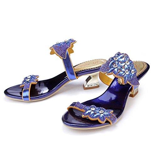 Verano Alto Sandalias Gran Tacón Zapatos Con Mujer Zapatillas Tamaño Sasa Imitación Diamantes Nuevo Grueso Grado De UCwAAq