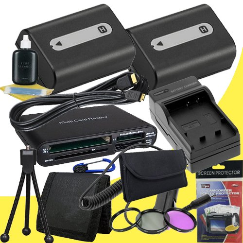 TWO NPFH50 Lithium Ion Replacement Batteries w/Charger + Mini HDMI + 3 Piece Filter Kit + USB SD Memory Card Reader /Wallet + Deluxe Starter Kit for Sony DCRDVD508, DCRDVD408, DCRDVD308, DCRDVD108, DCRDVD505, DCRDVD405, DCRDVD305, DCRDVD205, DCRDVD105, DC by DavisMAX