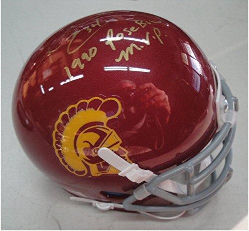 Ricky Ervins Autographed Mini Helmet - USC Trojans 1990 Rose Bowl MVP w COA - Autographed NFL Mini Helmets (Usc Bowl Autographed Rose)