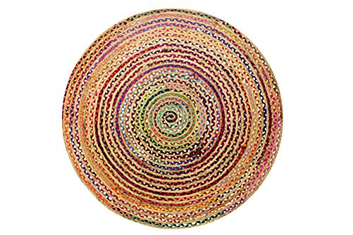 Cotton Craft Jute & Cotton Multi Chindi Braid Rug, Hand Woven Reversible, 8-Feet, Colors may Vary (8 Rugs Area Round Feet)