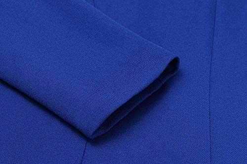 Autunno Marineblau Elegante Lunga Bavero Con A Outerwear Cerniera Business Di Giaccone Solidi Moda Chic Blazer Manica Maglia Tasche Colori Giacca Laterali Donna qOIw81t6