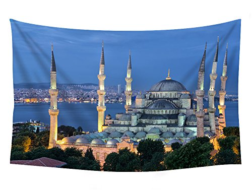 Mosque Ahmed Sultan (Turkey Palace Night Street lights Sultan Ahmed Mosque Istanbul Cities - Wall Tapestry Art For Home Decor Wall Hanging Tapestry 90x60 Inches)