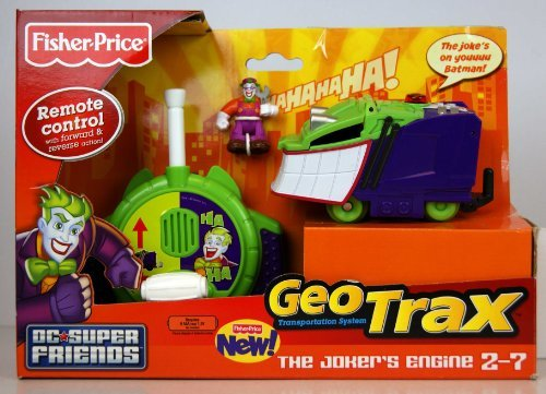 Fisher-Price GeoTrax DC Super Friends Turbo Remote Control Vehicle - The Jokers Engine (Geotrax Train Remote Control)