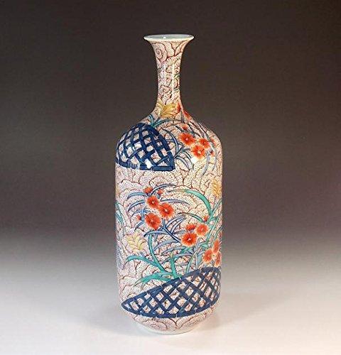 有田焼伊万里焼の陶器花瓶撫子絵|贈答品|ギフト|記念品|贈り物|陶芸家 藤井錦彩 B00LWUV470