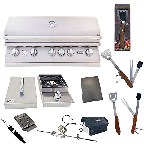 Lion Premium Grills 40-Inch Natural Gas Grill L90000 with Single Side Burner and 5 in 1 BBQ Tool Set Best of Backyard Gourmet Package Deal