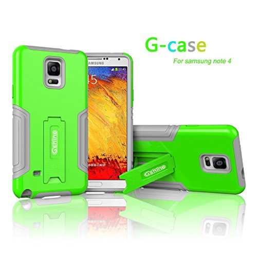 Gshine? G-case Series Dual Layer with Kickstand Case Cover for Samsung Galaxy Note 4 (PC + Silicone)-Green