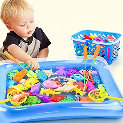 Okls Vivid Delicate dsaf/Sets 14 Children Magnetic Fishing Game Parent-Child Interactive Toys for Children A Net 1 12 3D Fish Baby Bath Toy Outdoor Toys Novel fs: Home & Kitchen