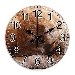 Monica M Joheson Clock Frameless Quiet Heavy-duty Arabic Numbers Round Wall Clock Drawing Room Diameter 9.8 Inch