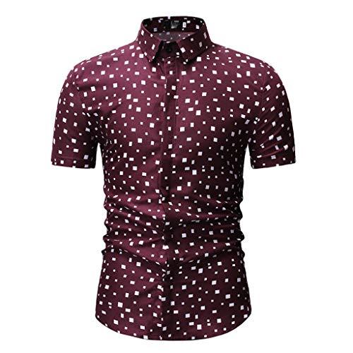 Sunhusing Men Irregular Polka Plaid Print Button-Down Short-Sleeve Work Shirt Lapel T-Shirt Red