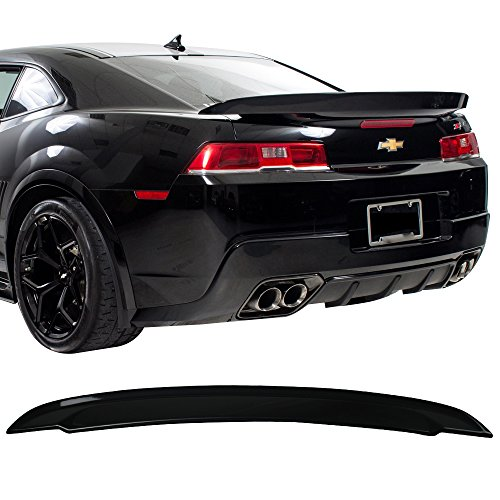 Pre-painted Trunk Spoiler Fits 2014-2015 Chevy Camaro | Factory Style Painted #WA8555 Black ABS Car Exterior Rear Spoiler Wing Tail Roof Top Lid Other Color Available by IKON MOTORSPORTS