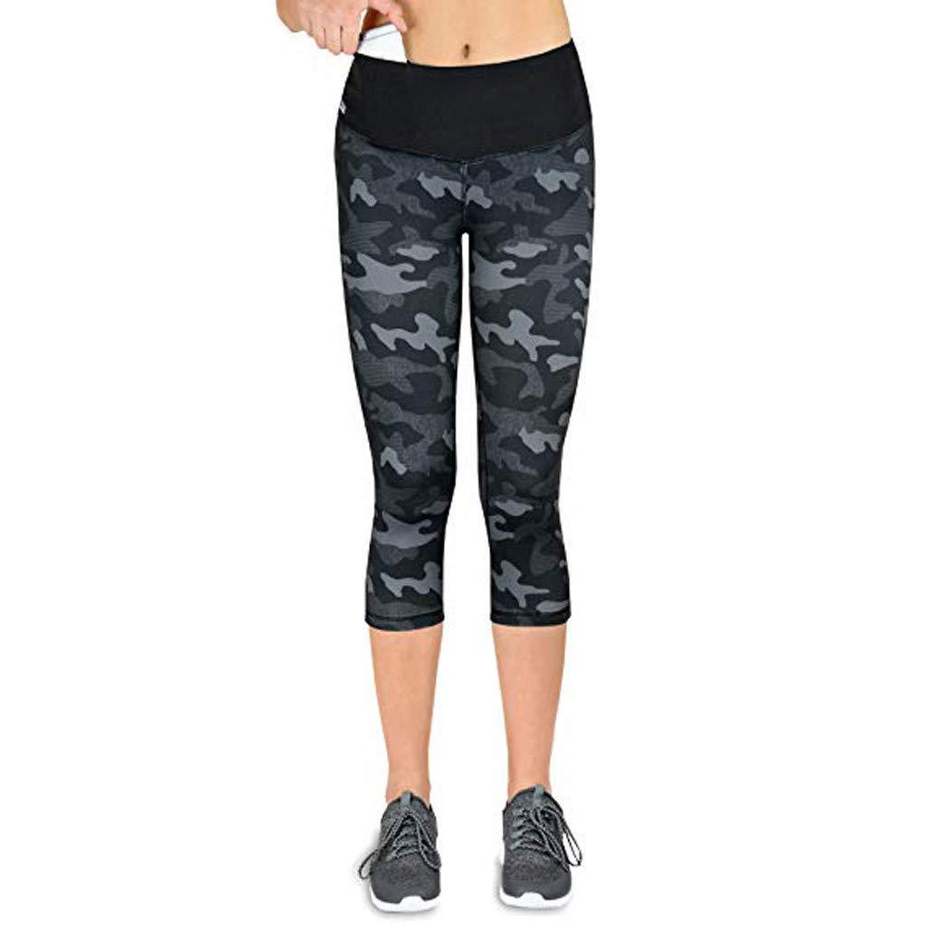 Coverhome Womens Yoga Pants Tights Women Sports Gym Yoga Workout high Waist Running Pants Fitness Elastic Seven Points Yoga Pant Running Sports Leggings
