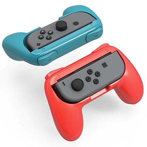 스위치 죠이 콘 핸들 [2 개세트] Switch 콘트롤러 그립 재빠르게 반응 치수 최적 YOSH® 닌텐도 Joy Con 전용 레드 블루 / 블랙