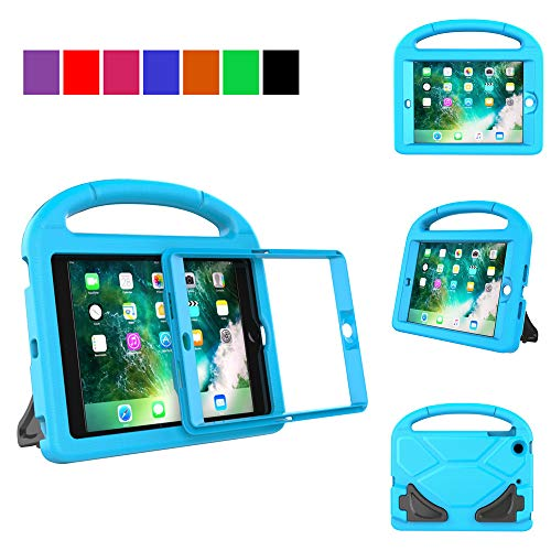 MENZO Kids Case for iPad Mini 3/2 / 1 (NOT for iPad Mini 4), Light Weight Shockproof Handle Stand Kids Case with Built-in Screen Protector for iPad Mini 1 / Mini 2 / Mini 3, Blue