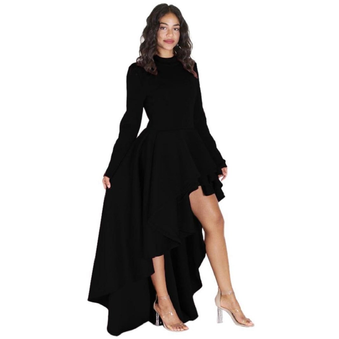GONKOMA Women\'s Plus Size Long Sleeve High Low Peplum Dress Irregular Party  Party Gown Prom Club Dress