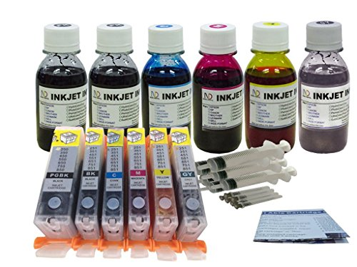 Refill Canon Pixma (With Auto Reset Chips! PrintPayLess® Brand Pre-filled 6 Refillable Ink Cartridges for Canon PGT-250 CLI-251 (non-OEM) cartridges + Additional 600 ml PrintPayLess® Brand UV resistant dye ink Specially Formulated for)