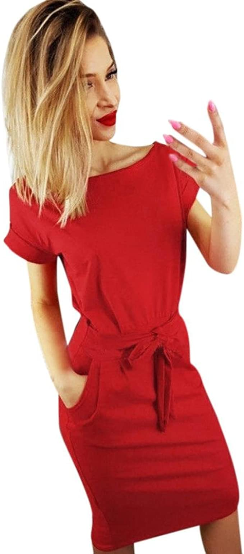 Ansenesna Kleid Damen Sommer Knielang Elegant A Linie