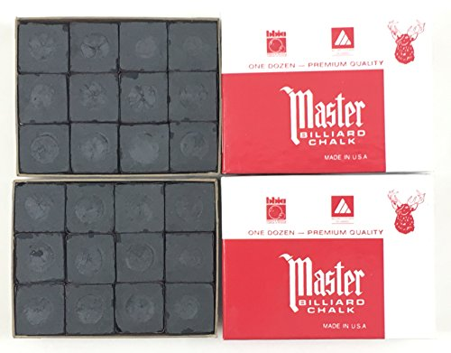 Pool Cue Chalk (Made in the USA - 2 Boxes of Master Chalk - 24 Pieces for Pool Cues and Billiards Sticks Tips (Black))