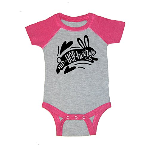 Mashed Clothing Unisex-Baby - Hip Hop Hooray Easter - Baseball Style Baby Bodysuit (Hot Pink, 12 Months) by Mashed Clothing