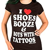 Women's Cartel Ink I Love Shoes, Booze, And Boys With Tattoos Tee Black M