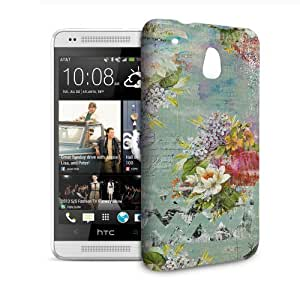 Phone Case For HTC 601e (One Mini) M4 - Grunged Florals on Green Snap-On Lightweight
