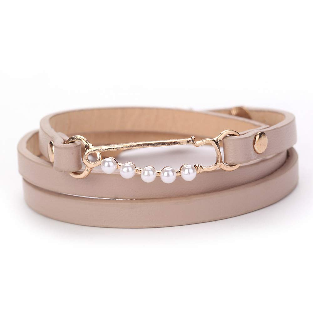 Women Buckle Beads AU Leather Jewelry Bangle Wrap Charm Bracelets Gift for Girls Mens Teens Student Best Friend Forever(B)