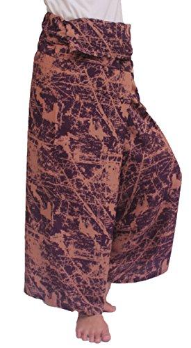 ChiangmaiThaiShop Women's Thai Fisherman Pants Rose Circle Wide Legs Pants (One Size, Fancy-10)
