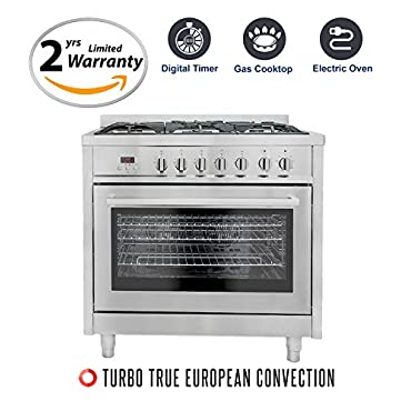 Cosmo F965 36 Dual Fuel Gas Range with 3.8 cu. ft. Oven, 5 Burners, Convection Fan, Cast Iron Grates and Black Porcelain Oven Interior in Stainless Steel