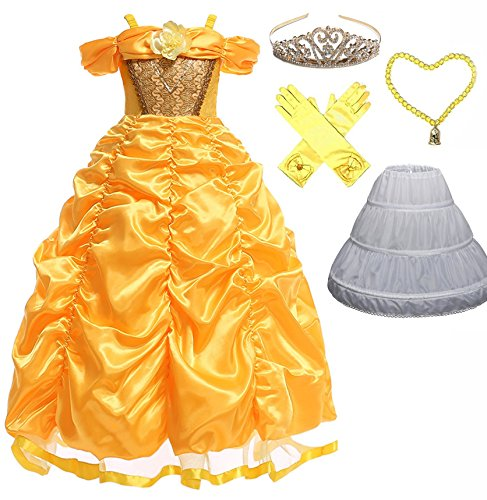 Romy's Collection Princess Belle Dress (5T, Yellow)