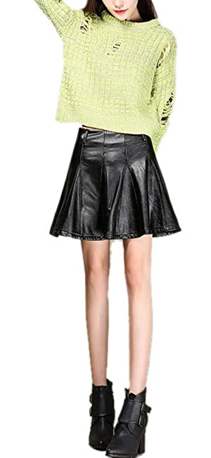 Women Sexy High Waisted Slim Fit Leather Short Club Mini Skirt Black