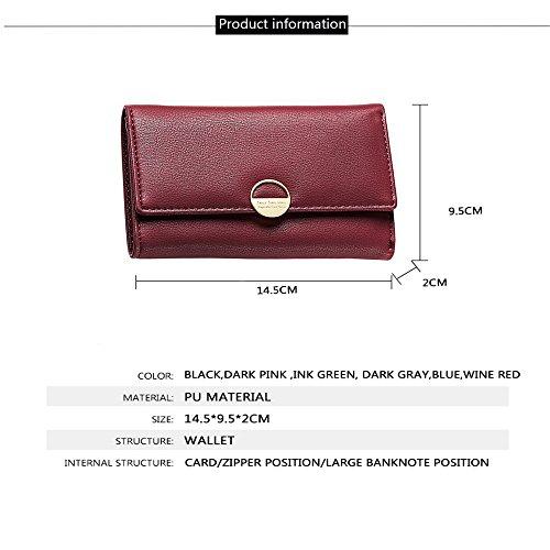Fashion Women Travel Purse Blocking Wallet Handbag PU Leather Tri-fold Document Multi Card Organizer Coin Pocket