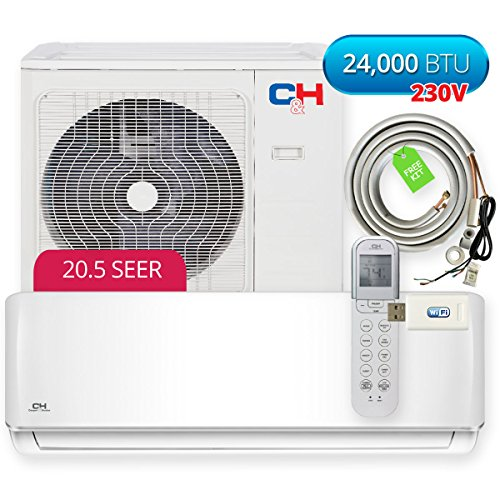 Cooper & Hunter Sophia Wall Mount 24,000 BTU 230V 20.5 SEER Ductless Mini Split Air Conditioner Heat Pump with WiFi module and Installation Kit