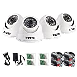 ZOSI 4 Pack 1080P 2.0MP Outdoor Indoor 3.6mm 24PCS Infrared IR Lens Day Night CCTV IR Cut White Dome Surveillance Security Camera Compatible for TVI DVR